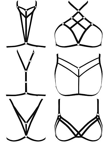 SATINIOR 6 Pieces Women Harness Bra Elastic Cupless Cage Bra Strappy Hollow Out Lingerie, Black (Style B), Medium