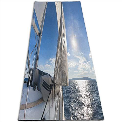 LOSUMIGE Esterilla Yoga Barco de vela en el mar Marítimo Speedy Beaming Sun Reflections Tema de estilo de vida Colchonetas de ejercicio Pilates para entrenamiento en casa Gimnasio Fitness Meditación
