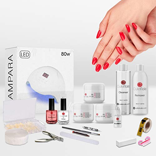 Kit completo Geles LED/UV con lámpara LED 80W / Kit completo gel de uñas/Kit geles 15ml