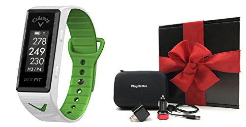 Callaway GOLFIT (White) GPS Band Gift Box Bundle | Includes Golf & Fitness GPS Band, PlayBetter USB Car & Wall Adapter, Hard Carrying Case | Black Gift Box