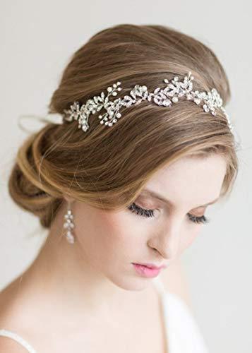 Kercisbeauty - Diadema con diamantes de imitación para novia, diadema de perlas de novia, tiara de boda vintage, para...