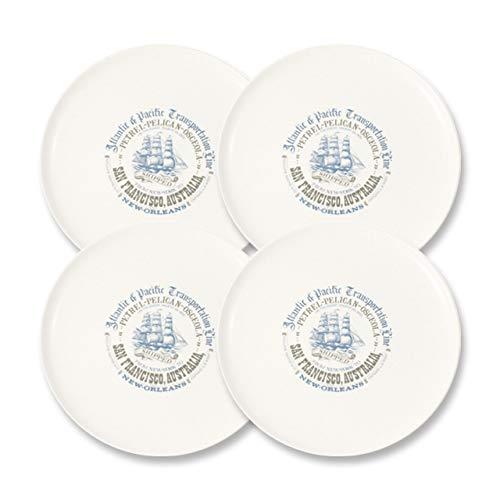 CARTAFFINI SRL - Plato llano Veliero de melamina, Ø 24 cm - Juego de 4 piezas - Color: blanco marfil