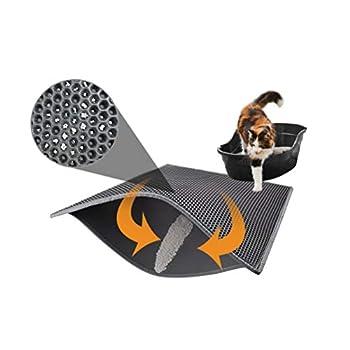 Pieviev Tapis de litière pour chat en nid d'abeilles Imperméable Double couche