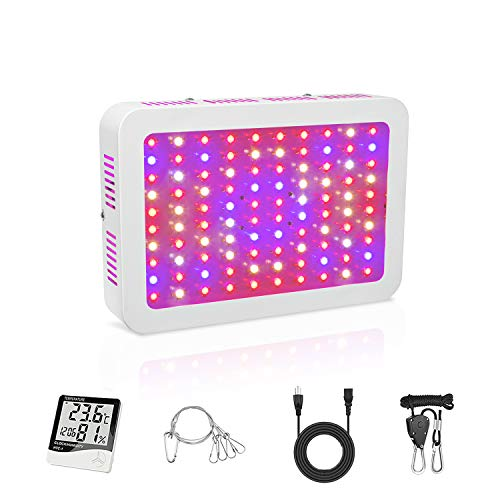 TATU 1000W LED Grow Lights Full Spectrum Growing Lamp Double Chips Indoor Plants LED Grow Light Veg and Bloom Switch for Grow Tent (Actual Power 110 Watt 100pcs LEDs)