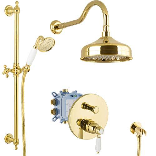 PaulGurkes Regendusche Set Unterputz Gold Duschsystem Luxus Dusche Komplett