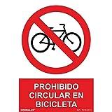 RD41043 - Señal Prohibido Circular En Bicicletas PVC Glasspack 0,7 mm 30x40 cm con CTE, RIPCI Nueva Legislación