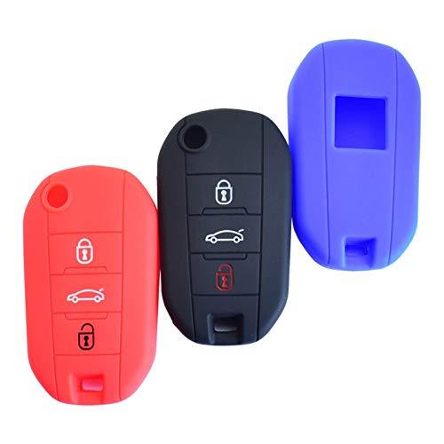 FYLYHWY Cubierta de Llaves del Coche de Silicona para Citroen C4 Cactus for Peugeot 508 208 308 T9 2008 Llavero Plegable Holder Protector de Control Remoto (Color Name : Red)