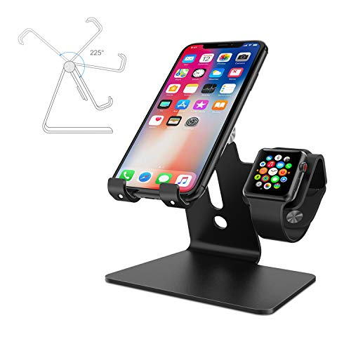Cell Phone Stand for Apple Watch, ENIBON 2 in 1 Adjustable Charging Station Universal Desktop Phone Holder for Apple Watch 5/4/3/2/1 and iPhone 11/11 Pro/11 Pro Max/Xr/Xs Max (Black)