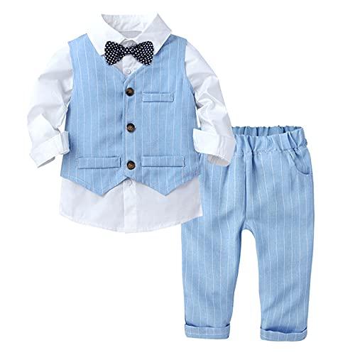 CHICTRY Baby Jungen Bekleidungssets Baumwolle Hemd & Weste & Hose Smoking Gentleman Anzug Festliche Party Hochzeit Tauf Kleidung Blau 80-86