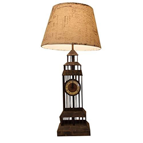 Hong Yi Fei-Shop Lampara Mesilla Lámpara Creativa de Mesa de Hierro Forjado Lámpara de Estilo Retro Europeo Dormitorio de Estudio Lámpara de Noche Regulable Lámpara de Mesa