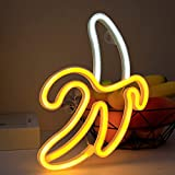 Banana Neon Signs, Novelty LED Neon Light Wall Art Decorative Wall Hanging Sign for Bedroom Kid's Room Party Home Decor USB/Battery Powered Neon Night Light