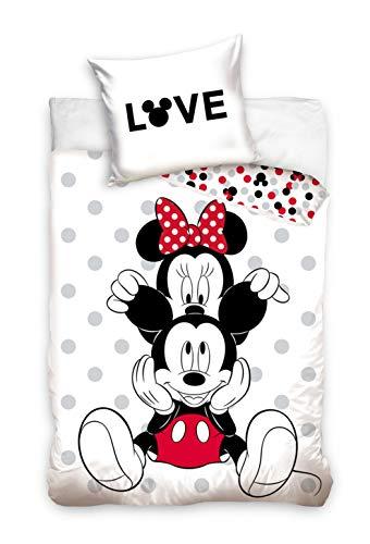 Ropa de cama Mickey Mouse Minnie 135 x 200 + 80 x 80 funda nórdica de algodón