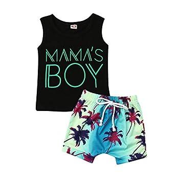2Pcs Baby Boys Summer Clothing Sets Cute Letters Print Sleeveless Tank Tops T-Shirt+Palm Shorts Outfits  Black Tank Tops+Beach Shorts 6-12 Months