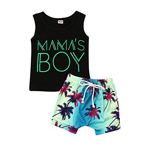 2Pcs Baby Boys Summer Clothing Sets Cute Letters Print Sleeveless Tank Tops T-Shirt+Palm Shorts Outfits (Black Tank Tops+Beach Shorts, 12-18 Months)