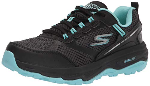 Skechers Performance Women's GO Run Trail Altitude Sneaker, Black/Aqua, 8.5