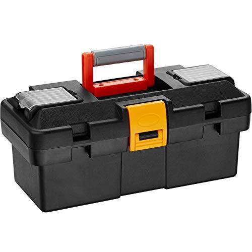 tectake 800858 Werkzeugbox leer, zwei Kleinteileboxen auf der Oberseite, herausnehmbarer Einsatz, Kunststoff Werkzeugkoffer mit Tragegriff (S | Nr. 403600)
