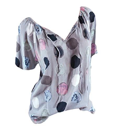 Damen Blusen Ronamick Frau Übergröße Drucken Langarm Polka Dot Button Bluse Pullover Tops Shirt