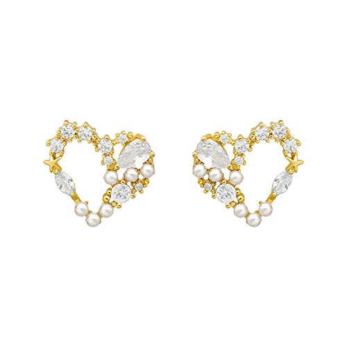 Pendientes de perlas de amor simple con red de viento frío y temperamento rojo para mujer con personalidad de marea elegante (color metálico: dorado)