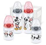 NUK First Choice+ - Juego de 5 biberones de 0 a 6 meses | 4 botellas con control de temperatura y caja para biberones | Válvula anticólicos | Sin BPA | Disney Mickey y Minnie | 5 unidades