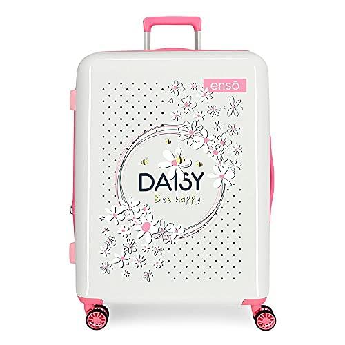 Enso Daisy Maleta Mediana Blanco 48x70x26 cms Rígida ABS Cierre TSA Integrado 81 3 kgs 4 Ruedas Dobles