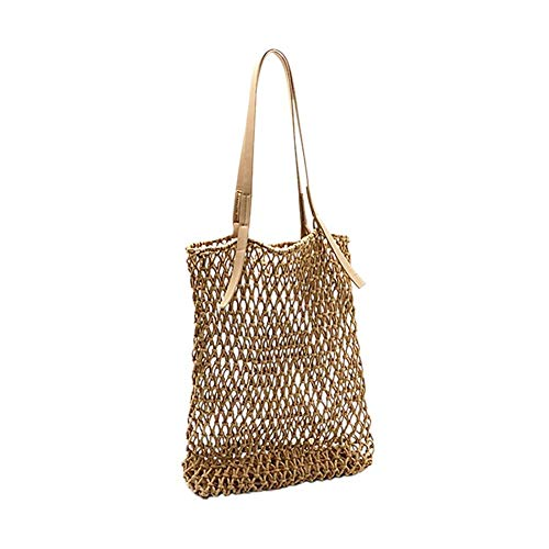 XIXIAO Cotton One-Shoulder Straw Woven Bag With Mesh Buckle Beach Bag for Ladies Weekender Travel