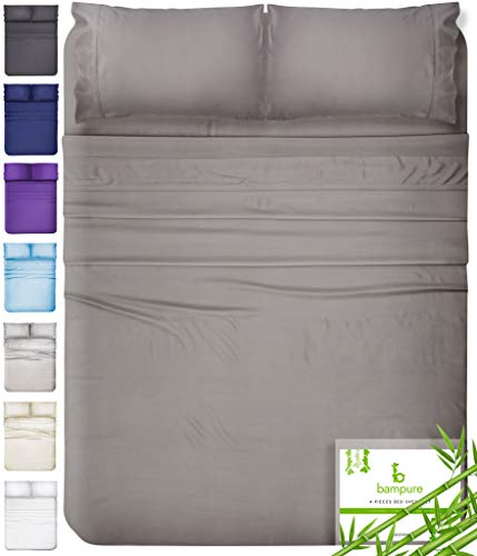 BAMPURE Bamboo Sheets Queen Bamboo Sheets - 100% Organic Bamboo Bed Sheets Queen Sheet Set Cooling Sheets Queen Size Sheets Deep Pocket Queen Sheets Queen Bed Sheets Queen Size Cool Sheets Stone Gray