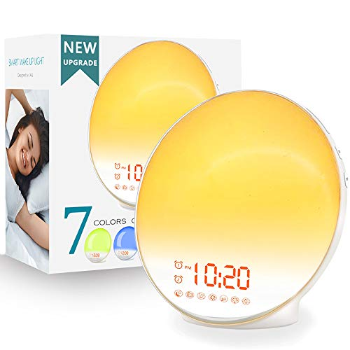 Wake Up Light Sunrise Alarm Clock for Kids, Heavy Sleepers, Bedroom, with Sunrise Simulation, Sleep Aid, Dual Alarms, FM Radio, Snooze, Nightlight, Daylight, 7 Colors, 7 Natural Sounds, Ideal for Gift