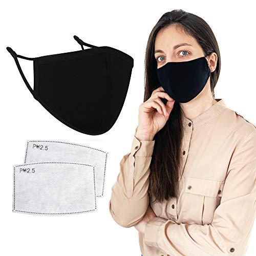 Iscudo Stoffmaske mit Nasenbügel schwarz - Mundschutz Maske mit Filtertasche inkl. 2 PM2.5 Filter - 3-lagige Gesichtsmaske aus Baumwolle - Mund Nasen Schutz waschbar und wiederverwendbar
