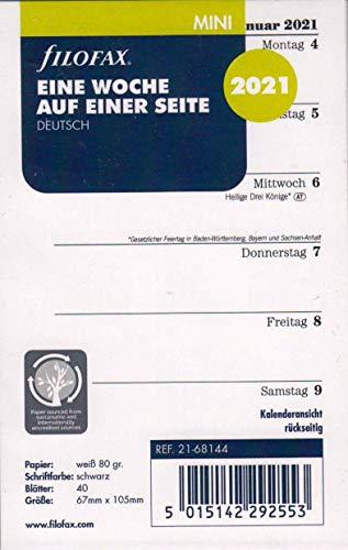 Filofax 2021 Kalender Mini A8 Kalendarium 1Woche 1Seite Wochenplaner Deutsch 21-68144, Weiss