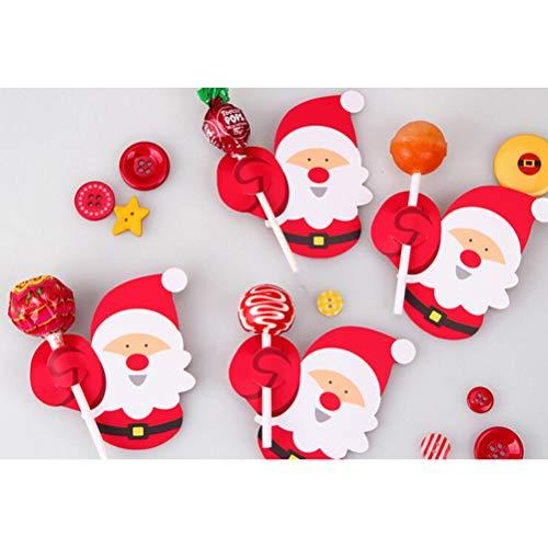 Goefly Weihnachtsmann Lutscher dekorative, Schöne Pinguin Papier Karte Weihnachten DIY Süßigkeiten Dekoration Party Spielzeug Dekor, 50 stücke