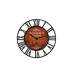 Upuptop Farm House Wall Clock with Wine Chateau Design Theme and Black Iron Frame Wood & Metal Wall Clock Vintage Rustic Style Kitchen, Living Room 16 Inch Design Wall Clock