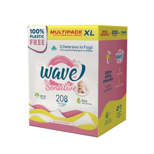 lavatrice ngm Wave Washing Sensitive - Il Detersivo in Fogli - 100% PLASTIC FREE - Multipack XL - 208 Lavaggi - Ecologico - Biodegradabile - Compostabile