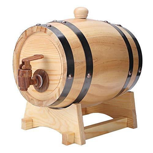 Barril de envejecimiento de roble blanco de 1,5 litros, mini barril de vino para whisky, cerveza, vino, bourbon, tequila, salsa picante y más(Madera)