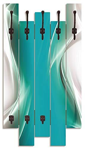 Artland Wandgarderobe Holz Design mit 8 Haken Garderobe Paneel mit Motiv 63x114 cm Welle Abstrakt Kunst Kreativ Modern Türkis Petrol T9FA