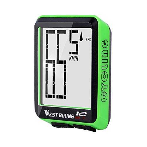 Mix Vogue Bicycle Computer Wireless Speedometer, Waterproof Cycling Odometer with Automatic Wake-up LCD Backlight for Outdoor Cycling and Best Gifts for Bikers (Color : Green)