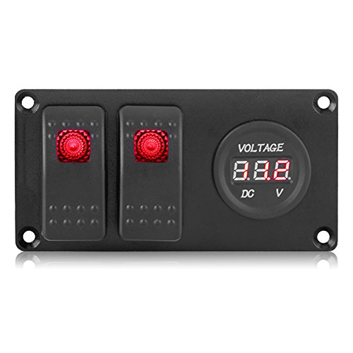 Rocker Switch-2 Gang 12-24V Panel de interruptor basculante LED rojo con voltímetro para coche RV Marine Boat