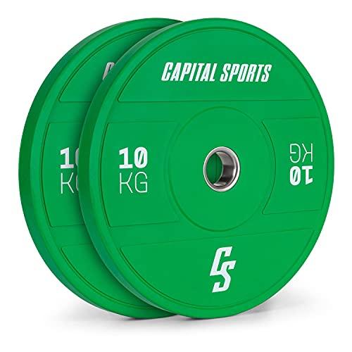 CapitalSports Nipton 2021 - Discos de Peso, Goma Dura, Anillo Interior de Acero, Apertura de 50,4 mm, Color según Normas olímpicas, 2 x 10 Kg, Verde