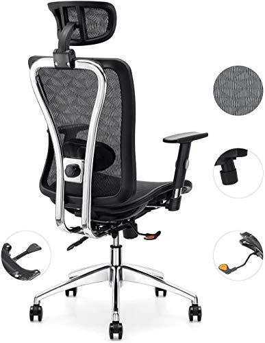 Cedric Bürostuhl,Computerstuhl mit ergonomisch Verstellbarer Lendenwirbelstütze,Drehschreibtischstuhl mit Verstellbarer Armlehne & Kopfstütze,EN1335-zertifiziert,Schreibtischstuhl bis 150kg Belastbar