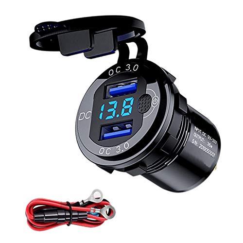 Mogzank QC 3.0 Dual USB Cargador de Coche Enchufe 12V / 24V Cargador USB con Interruptor de Contacto para Barco Motocicleta CamióN Carro de Negro