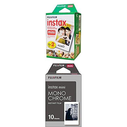Fujifilm INSTAX Mini Instant Film Twin Pack (White) and Instax Mini Monochrome Film - 10 Exposures