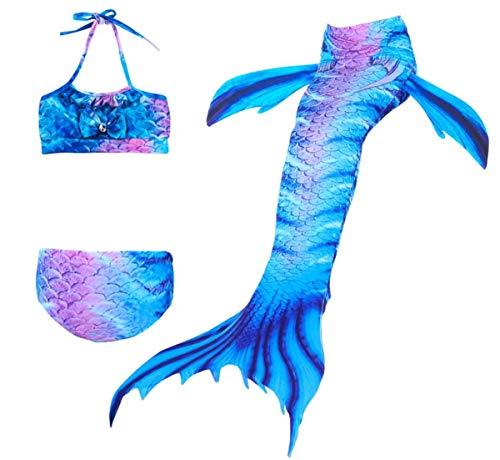 AIYIMEI Mädchen Meerjungfrauen Badeanzüge Bademode Prinzessin Meerjungfrauenflosse für Kinder zum Schwimmen Meerjungfrauenschwanz Mermaid Tankini Bikini Set Schwimmanzug Monoflosse