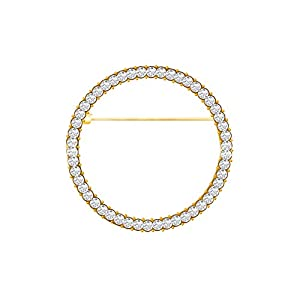 Elegant Geometry Circles Rhinestones Brooch for Women Girl Shawl Scarf Buckle Jewelry Men Suit Brooch Pins (Gold)