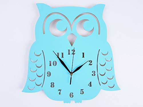 BABEES Kinder Wanduhr EULE, Uhr ohne Tickgeräusche, Kinderuhr für Kinderzimmer, Lautlos Uhrwerk, Wanddeko Skandi Deko (Blau)