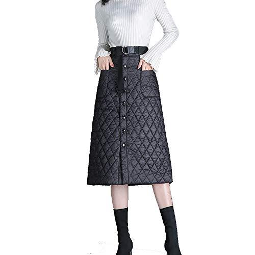 Falda De Invierno De Algodón Abajo De Longitud Media Grueso y Cálido Cintura Alta A-Palabra Falda Una Pieza con Bolsillo Black-XXL