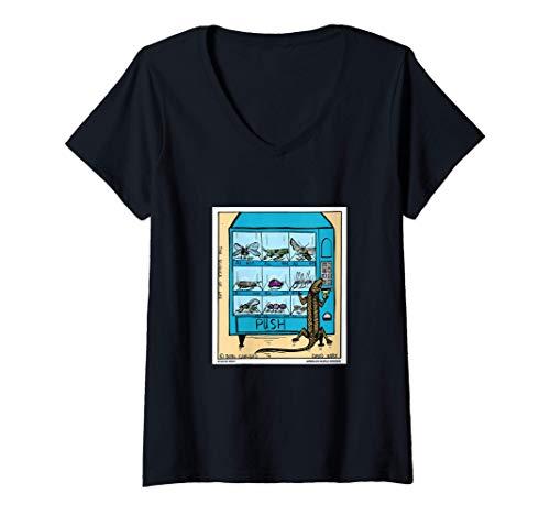 Mujer Lagarto con máquina expendedora de insectos Camiseta Cuello V
