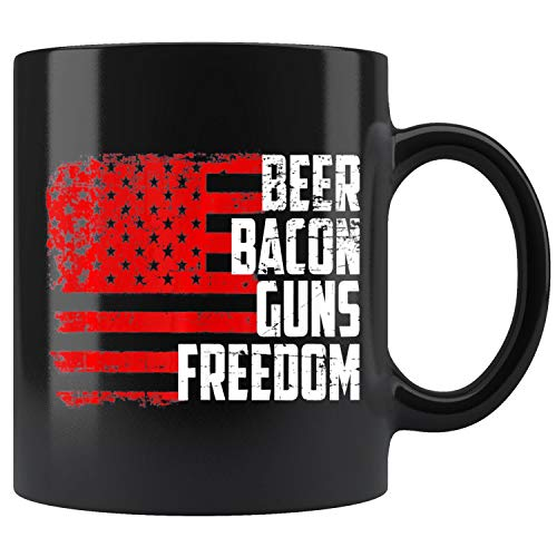 Beer Bacon Guns Freedom Funny Conservative Republican Mug Coffee Mug 11oz Gift Tea Cups 15oz