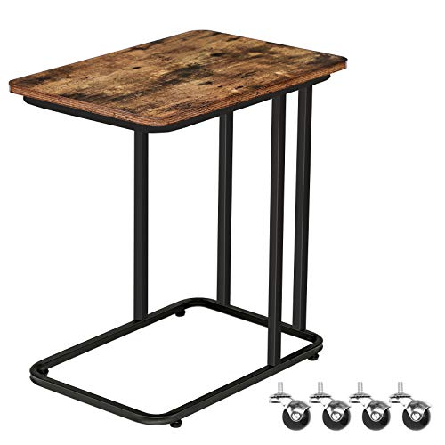 HOOBRO Mobile Side Table, Sofa End Table, Small Snack Table for Bedroom, Stable Laptop Table, Industrial Tray Table, Living Room, Easy Assembly, Work in Bed or on The Sofa, Rustic Brown EBF01SF01