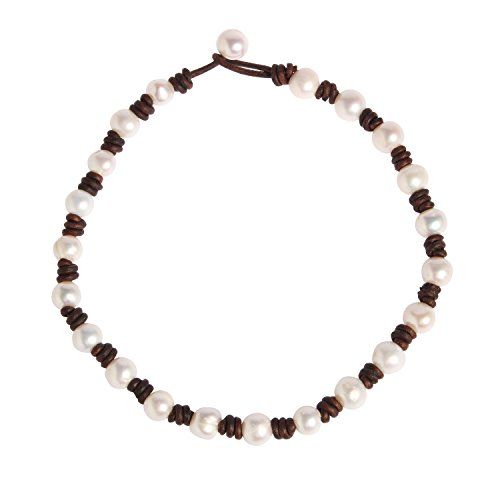 Bonnie Simulated Pearl Choker Necklace Genuine Leather Handmade Brown Leather Cord for Women (15