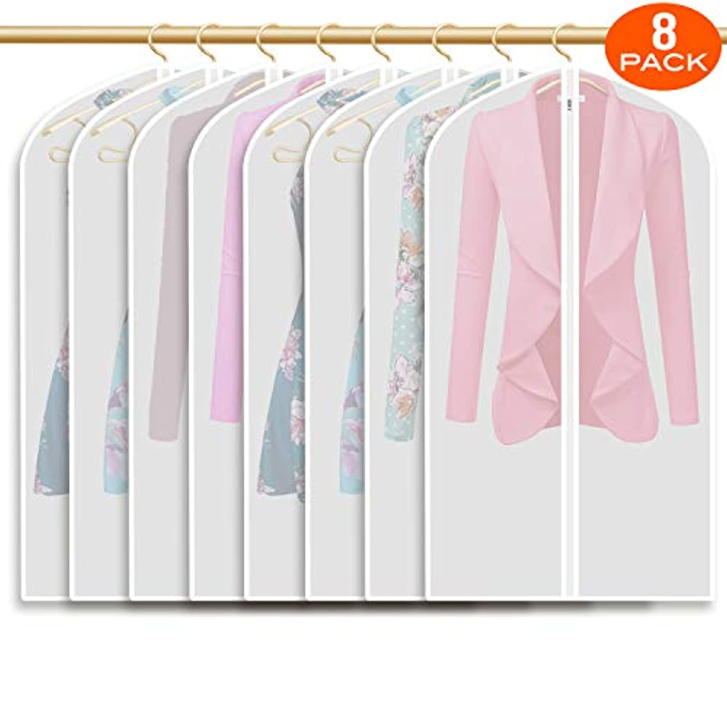 Refrze Moth Proof Garment Bags,Garment Cover,8 Pack Clear Garment Bags,Hanging Garment Bag, Dress Dance Garment Bags for Storage or for Travel,Breathable Dust and Waterproof Garment Protector Covers