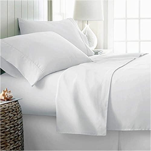 100% Organic Cotton Bed Sheets Twin - Organic White Sheets - 300 Thread Count Organic Cotton - Organic Cotton Percale Sheets - Deep Pocket Organic Cotton Sheets - GOTS Certified Sheets